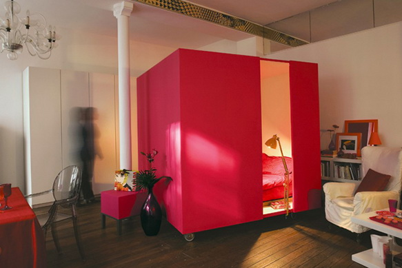Mobile Bed Cube Creative and Flexible Studio Apartments Designs