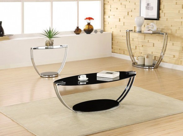 This satin finish metal glass top coffee table has a contemporary styling.