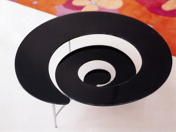 This spiral coffee table comes in various colors and is perfect for any small living room.