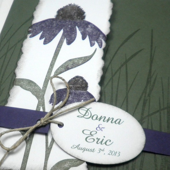 Deep green and purple daisy combination on matte finish paper