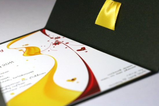 Yellow, Red and Black color combination in customized envelope.