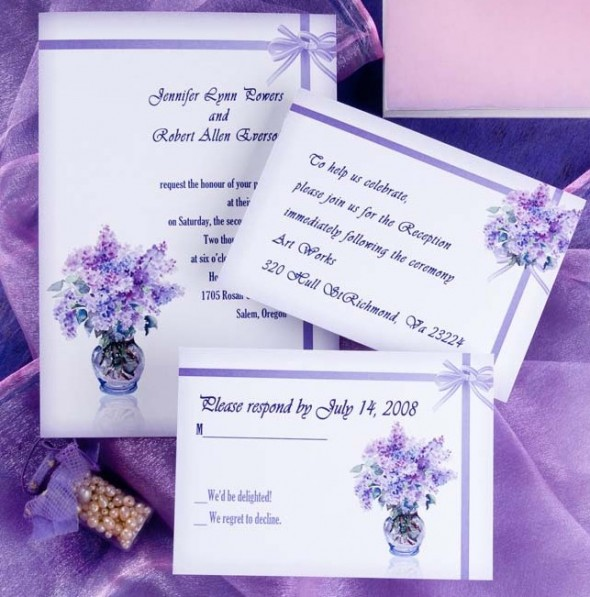 purple combined with white gives a fresh and elegant feel to the invite