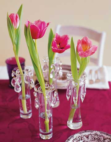 Tulips in Bud Vases 10 Cool Spring Centerpieces