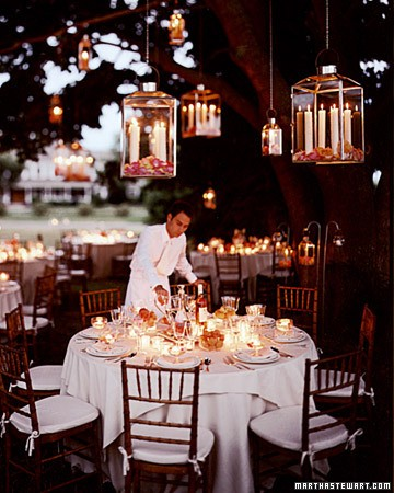Dangling Rose Lanterns Lighting Ideas for Outdoor Weddings