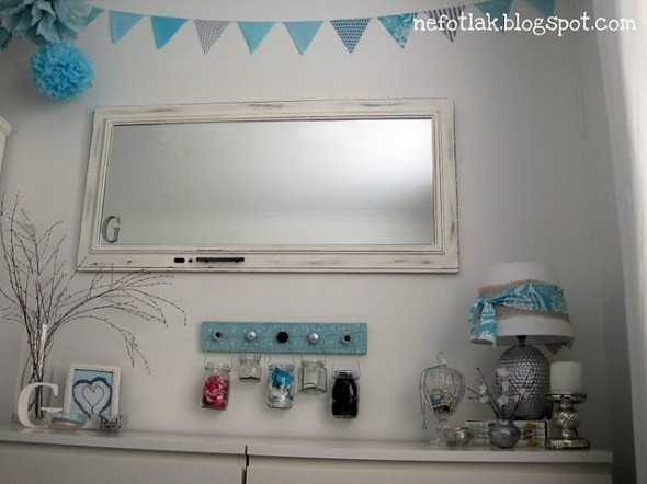 Diy dressing table ideas on a classic tree placed under a glass cloche to protect them from dust simple mirror wall fixed lampshades and sleek white table completes the look solutioingenieria Gallery