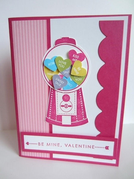 Gumball Candy Heart Card Valentines Day Craft Ideas