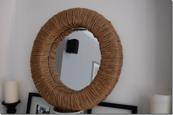 Jute Wrapped Mirror 10 Creative Mirror Frame Ideas   DIY