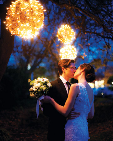 Wrap wicker balls in and out with strings of lights, these luminous balls  look like light bundles  and give you dreamy effect  and perfect background for photo opp.