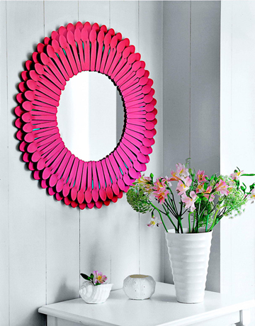 Pink Mirror Frame 10 Creative Mirror Frame Ideas   DIY