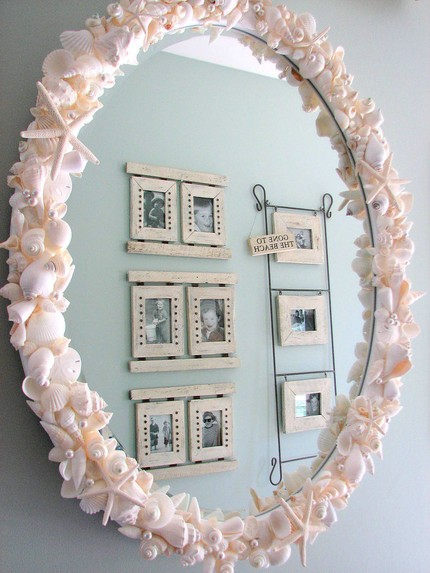 Shell Frame Mirror 10 Creative Mirror Frame Ideas   DIY