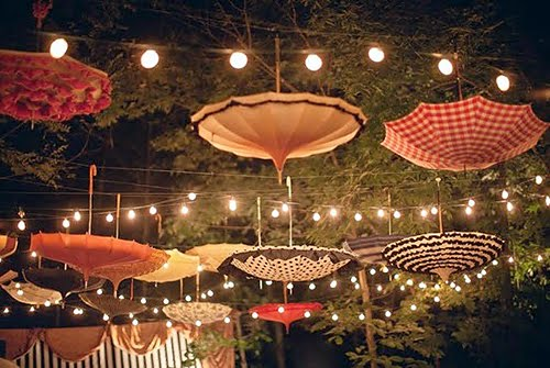 umbrella and light decoration Lighting Ideas for Outdoor Weddings