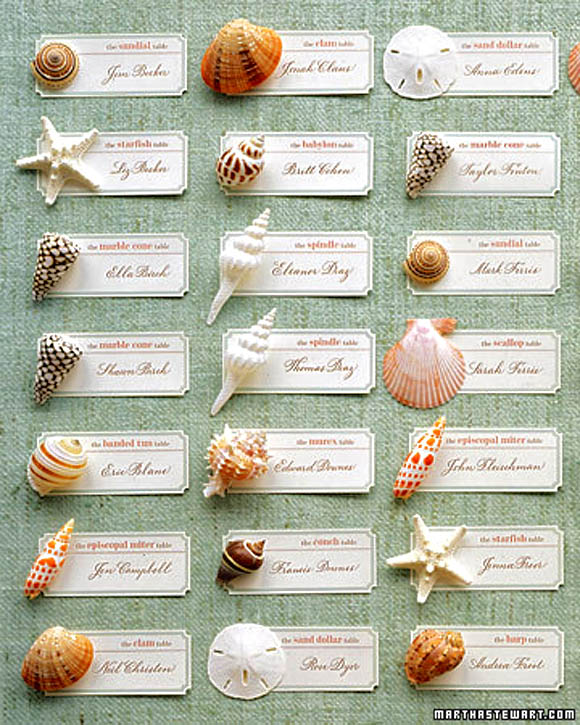 Seashell Seating Cards Living Impressive