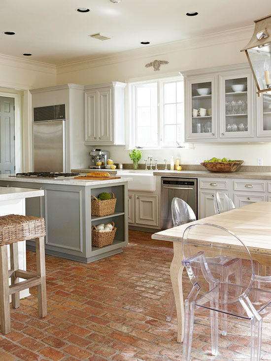 To Your Modern Kitchen With Antique Brick Flooring With Cabinets