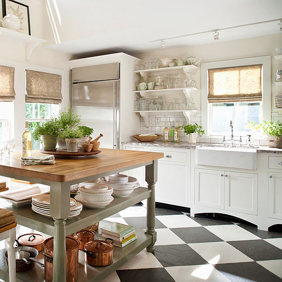 Cool Add contrast to your modern kitchen with antique brick flooring with cabinets and furnishings ultra modern this flooring gives a surprising element to the