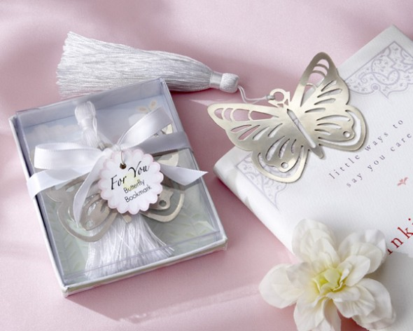 elegant silver butterfly bookmark is a great party favor for any spring wedding