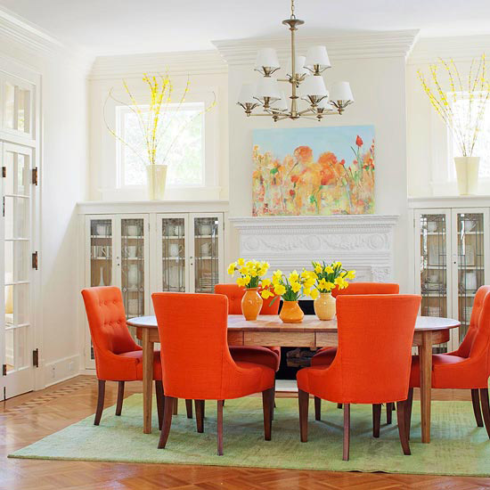 Color trends 2013 orange for Orange and grey dining room