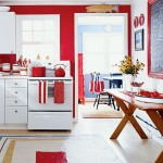 Red Walls and White Cabinets Kitchen