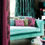 Turquoise and Wine Color Living Room