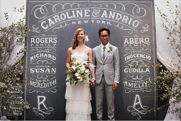 display your family and loved one's name on chalkboard surface background at the altar.