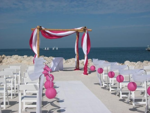 Beach wedding arches are great for guests to walk through and can serve as a backdrop during your ceremony.