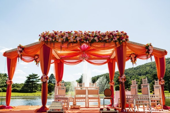 Fusion wedding altar/mandap brings a color splash to the setting.