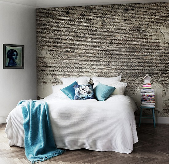 Designer bedrooms with exposed brick walls Brick wall bedroom design