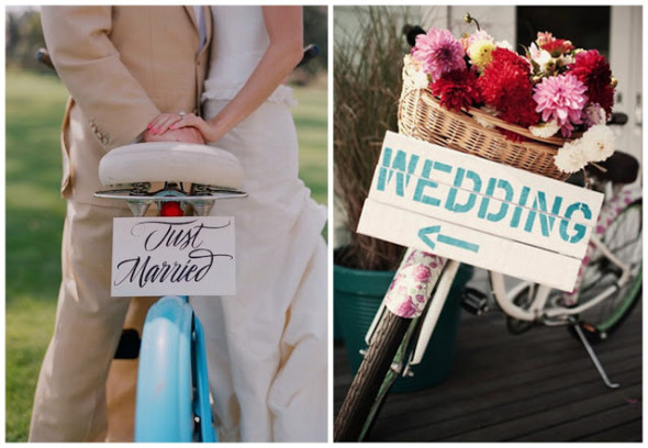 Bike Wedding Prop 1 590x408 Theme Weddings   Bike Themed Wedding