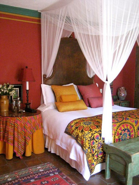 Bohemian style bedroom ideas for How to decorate a red bedroom