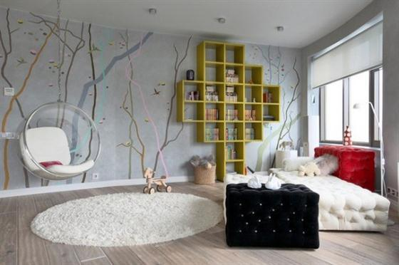 Marvelous Create a contemporary bedroom for any teenager with wall sticker from ceiling to floor and bined with creative book shelve Pic Courtesy