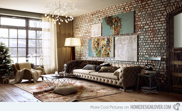 designer living rooms exposed brick walls. Black Bedroom Furniture Sets. Home Design Ideas