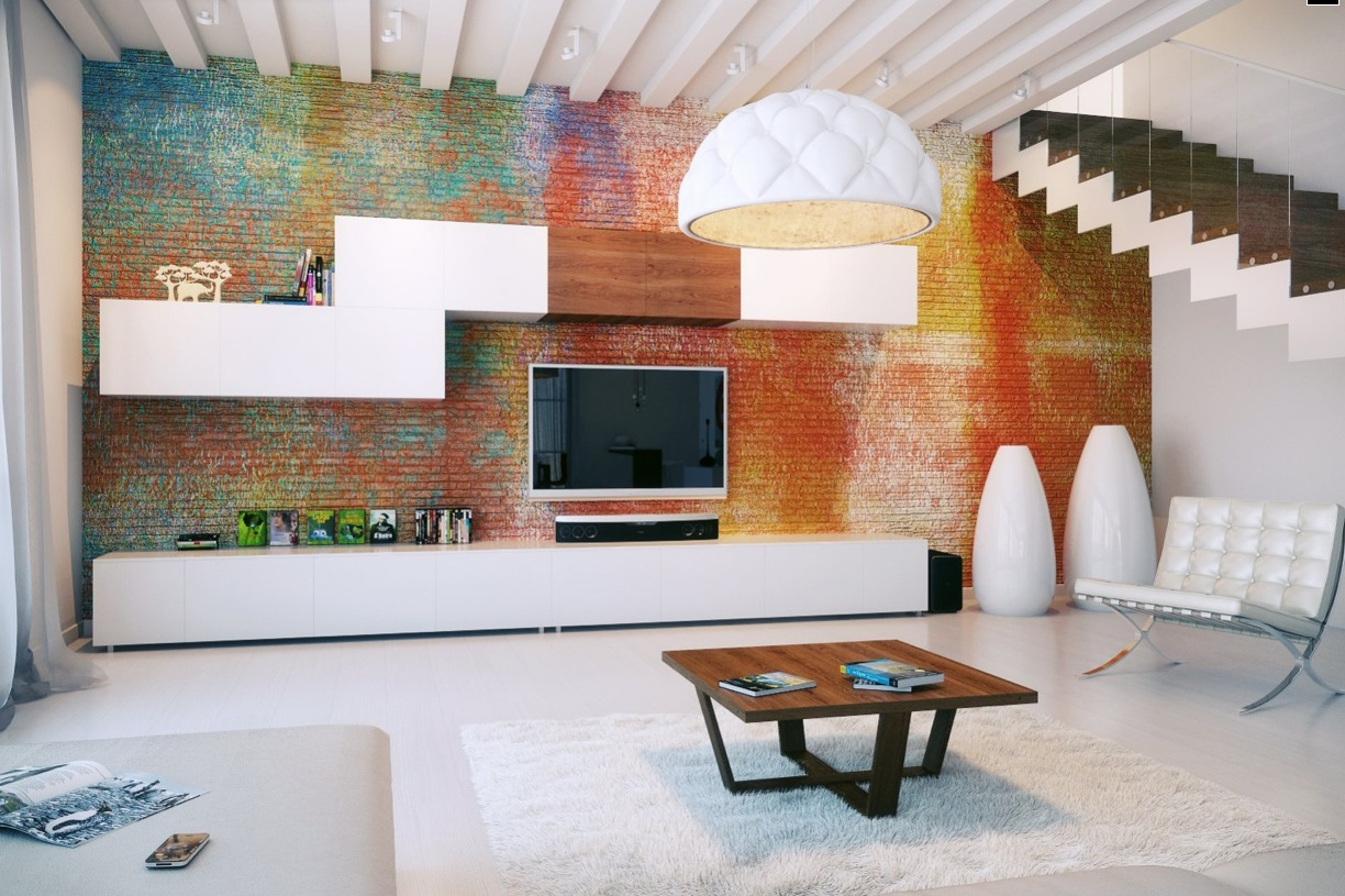 Designer Living Rooms – Exposed Brick Walls