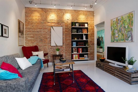 Designer Living Rooms - Exposed Brick Walls