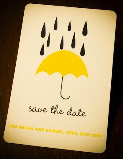 Save the date cards with Umbrella and Mini Droplets