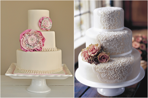 Chic flower and lace theme wedding cakes