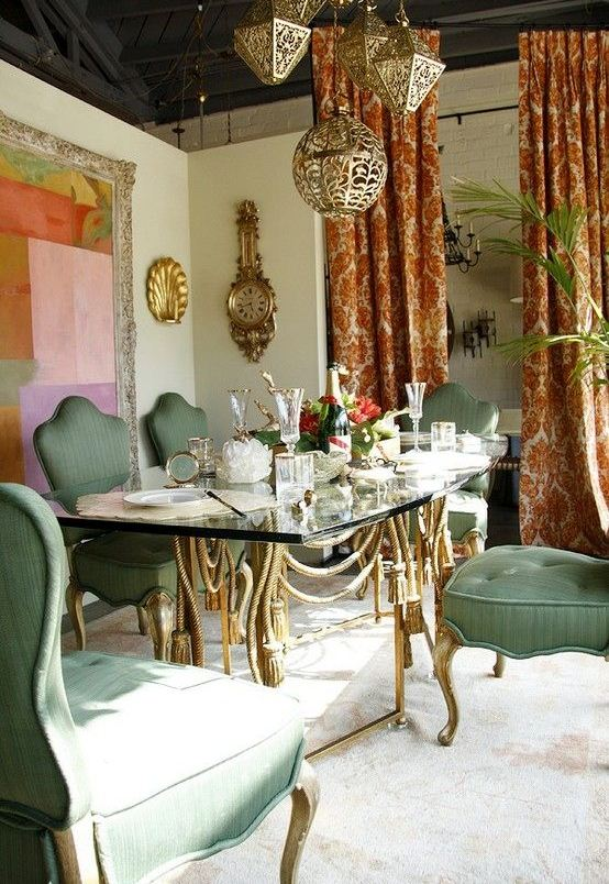 Bohemian style dining rooms for Bohemian dining room decorating ideas
