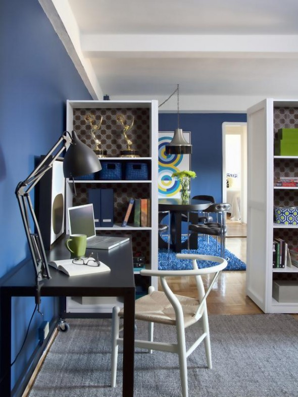 A room divider can open a dedicated space for home office