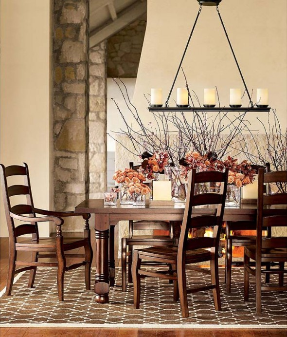 Dining Room Lighting Designs: Wrought Iron Furniture & Decorations