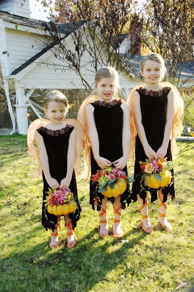 flower girls can carry pumpkins filled with flowers rather than traditional baskets