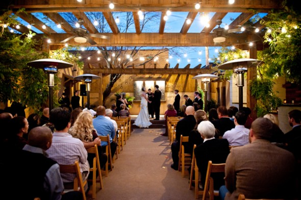 this setting of covered surroundings and open roof makes the venue perfect  for wedding ceremony