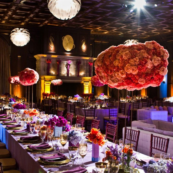 Make a bold and vivid statement  with vivid hanging centerpieces