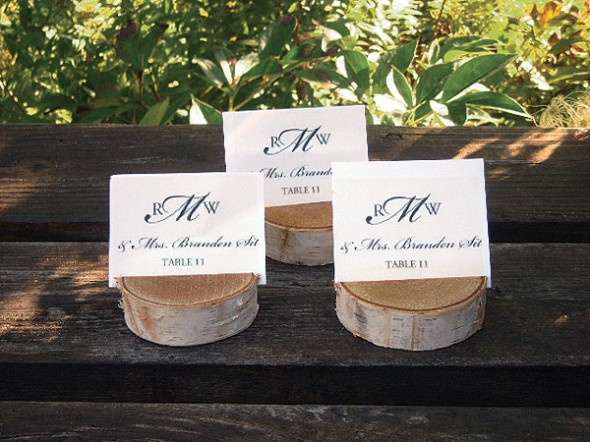 Bring natural influence and a rustic appeal to fall weddings with birch tree place card holders