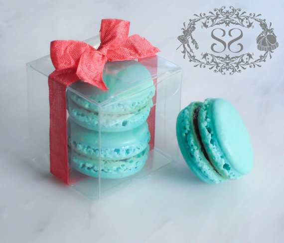 Wedding favors could be a specialty wrapped up in beautiful cases, French Macaroons are not only delicious but reminds you of the love and delicacy of French.