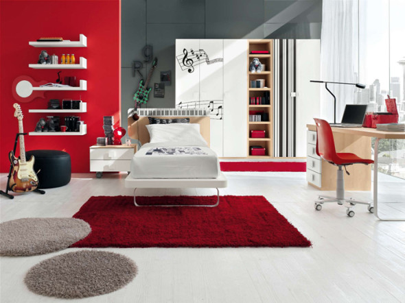 white and black are the best combinations, red pops out in this spacious and well lit room