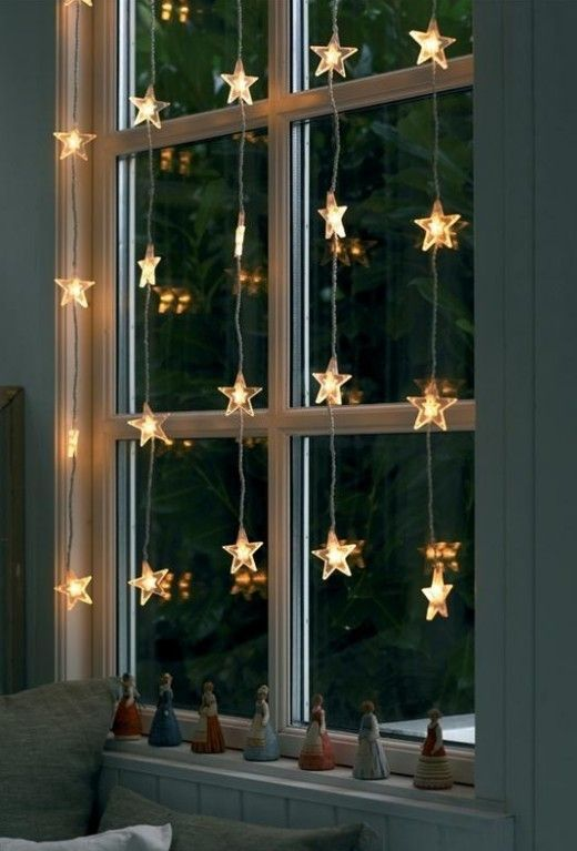 String lights hanging on the window will create a magical effect