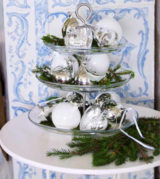 Display all your prettiest ornaments on a three- tier serving tray, add sprigs of evergreen and presto, instant holiday decor for a tabletop.