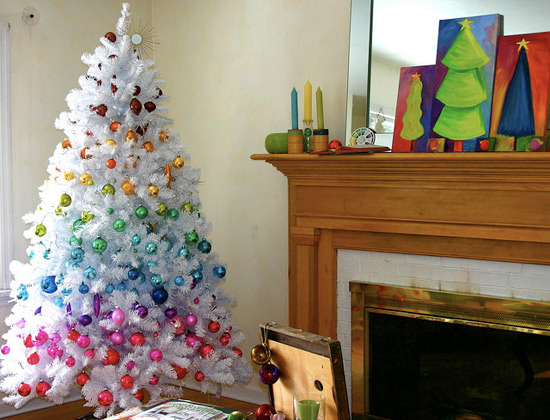 Decorate with rainbow color ornaments; they can be a gorgeous addition to your tree.