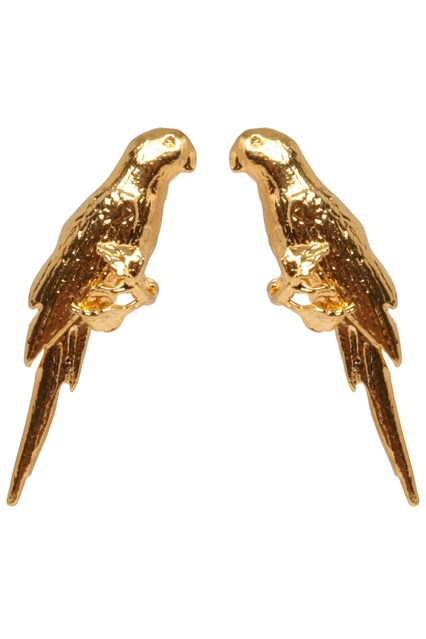 Make a heart beat skip with these sweet perching parrot earrings.