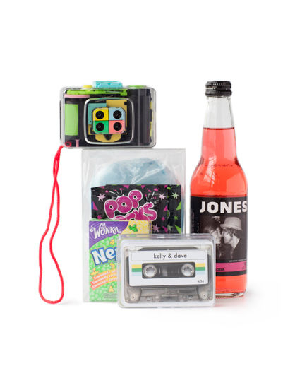 Play up a nostalgic vibe, pack a clear container with favorite candy from the childhood