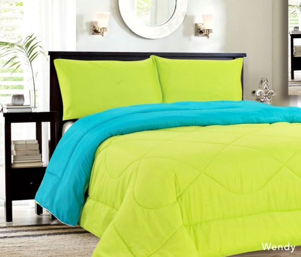Colorful Reversible Down Alternative Lightweight Comforters In Turquoise  And Lime Green Color Make This Bedroom Look Spring Ready And Fresh. Pic  Courtesy