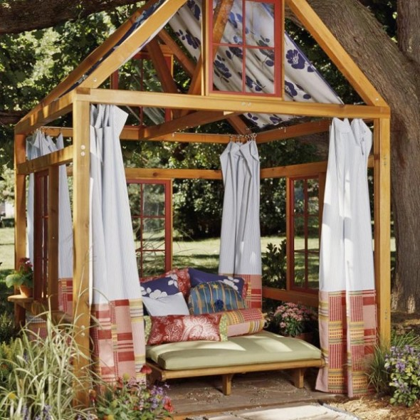 If Budget Allows You Can Go With Simple Yet Entertaining Garden Room  Structure. In This Version, A Two Person Chaise Lounge, Outdoor Fabric  Curtain Panels ...